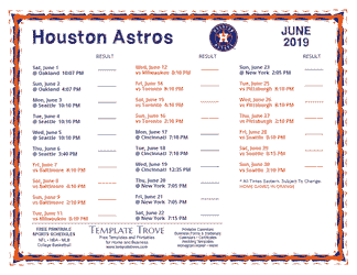 June 2019 Houston Astros Printable Schedule