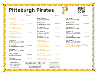 June 2019 Pittsburgh Pirates Printable Schedule