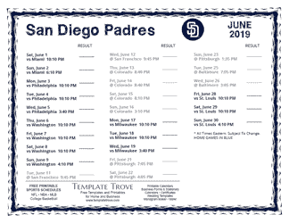June 2019 San Diego Padres Printable Schedule