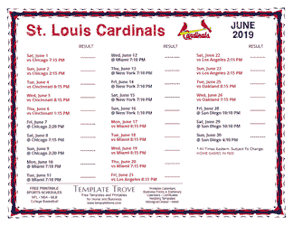 June 2019 St. Louis Cardinals Printable Schedule