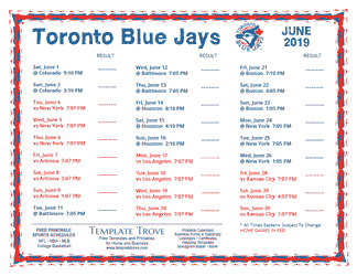 June 2019 Toronto Blue Jays Printable Schedule