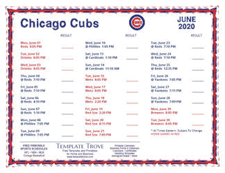 June 2020 Chicago Cubs Printable Schedule