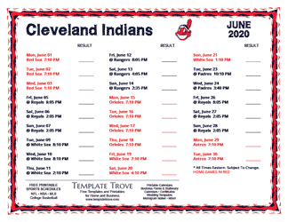 June 2020 Cleveland Indians Printable Schedule