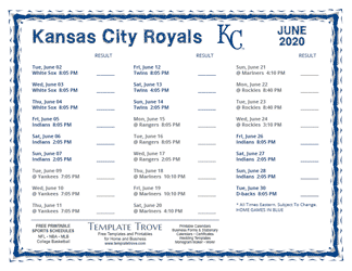 June 2020 Kansas City Royals Printable Schedule