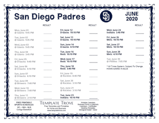 June 2020 San Diego Padres Printable Schedule
