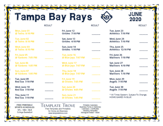 June 2020 Tampa Bay Rays Printable Schedule