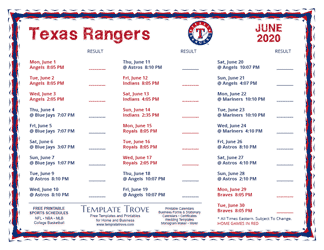 June 2020 Texas Rangers Printable Schedule