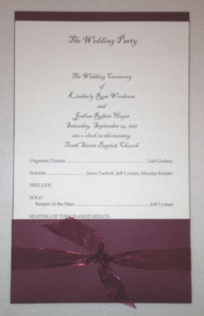 pocket wedding program template
