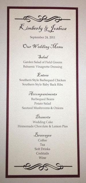 tea size wedding menu template 2 With size of wedding menu cards
