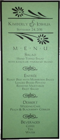 Completed Menu Card
