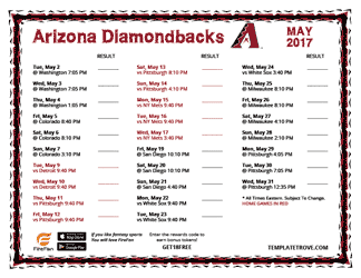May 2017 Arizona Diamondbacks Printable Schedule