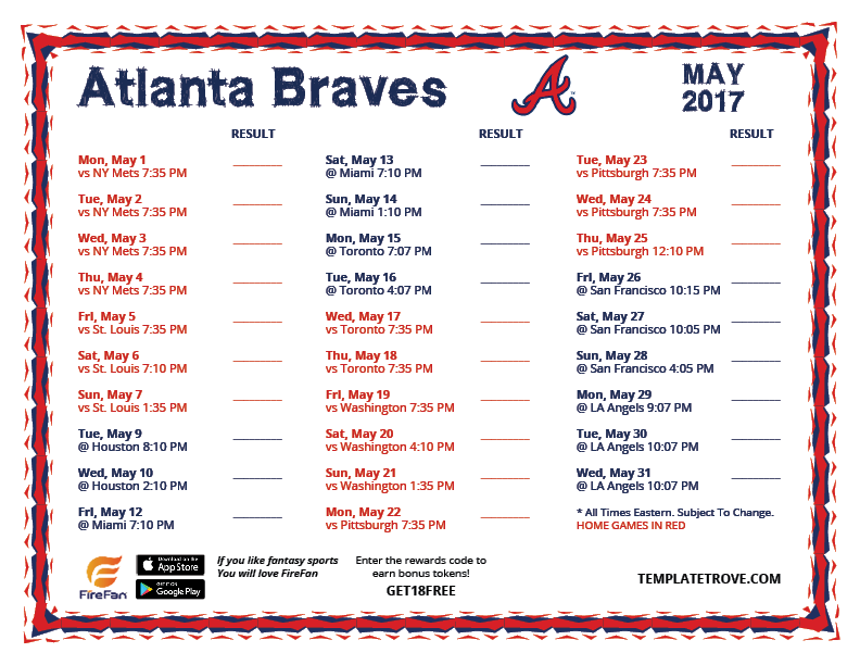 printable 2017 atlanta braves schedule
