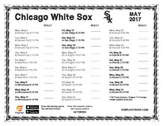 May 2017 Chicago White Sox Printable Schedule