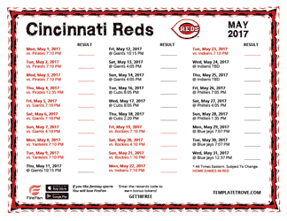 May 2017 Cincinnati Reds Printable Schedule