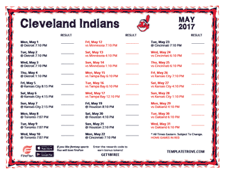May 2017 Cleveland Indians Printable Schedule