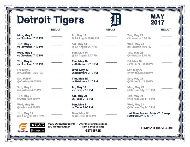 picture regarding Printable Detroit Tigers Schedule identified as Printable 2017 Detroit Tigers Routine