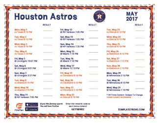 May 2017 Houston Astros Printable Schedule