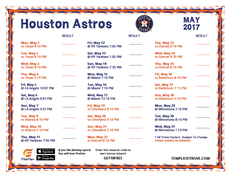 Sweet image for houston astros printable schedule