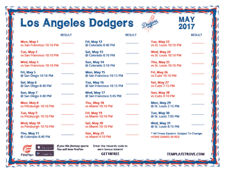 May 2017 Los Angeles Dodgers Printable Schedule