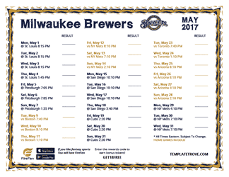 May 2017 Milwaukee Brewers Printable Schedule