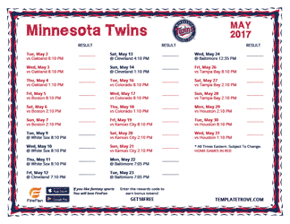 May 2017 Minnesota Twins Printable Schedule