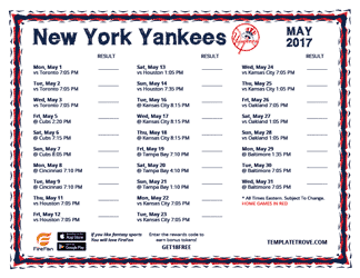 May 2017 New York Yankees Printable Schedule