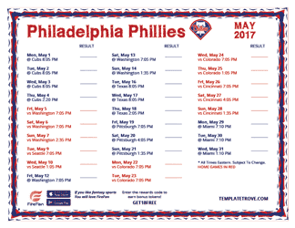 May 2017 Philadelphia Phillies Printable Schedule