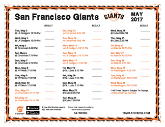 May 2017 San Francisco Giants Printable Schedule