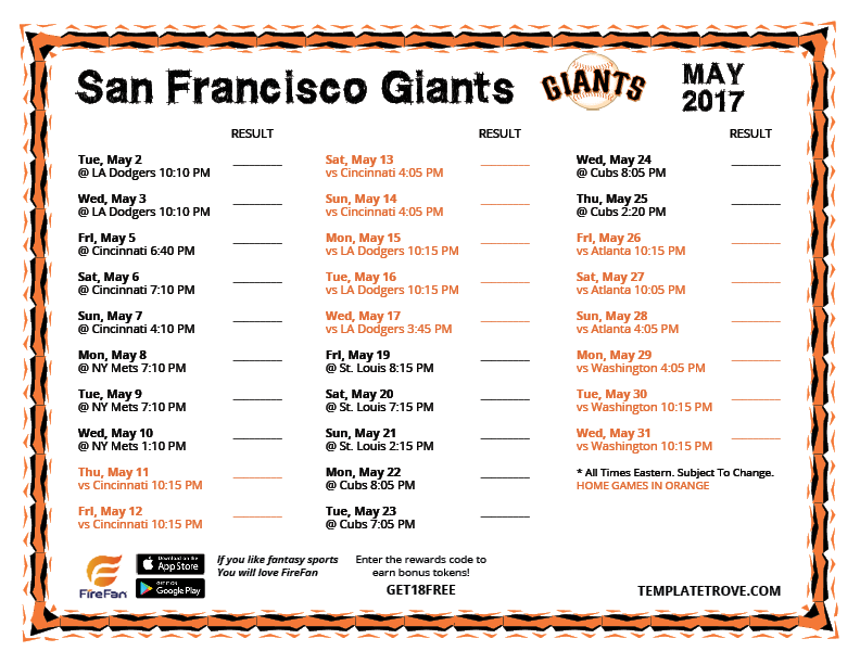This is a photo of Declarative Sf Giants Schedule Printable