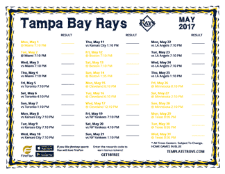 May 2017 Tampa Bay Rays Printable Schedule
