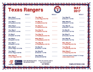 May 2017 Texas Rangers Printable Schedule