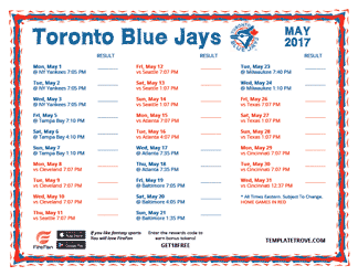 May 2017 Toronto Blue Jays Printable Schedule
