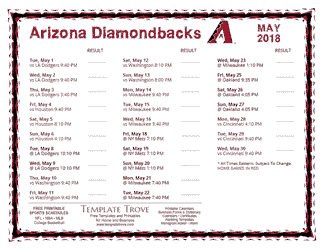 May 2018 Arizona Diamondbacks Printable Schedule