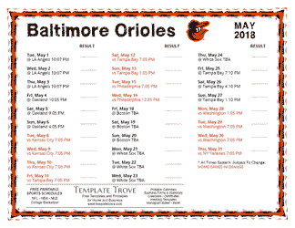 May 2018 Baltimore Orioles Printable Schedule
