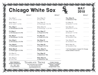 May 2018 Chicago White Sox Printable Schedule