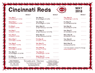 May 2018 Cincinnati Reds Printable Schedule