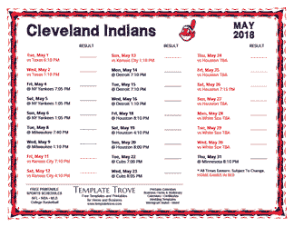 May 2018 Cleveland Indians Printable Schedule