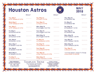 May 2018 Houston Astros Printable Schedule