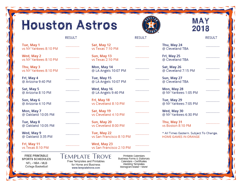 May-2018-Houston-Astros-Printable-Schedule-PNG Team Newsletter Template October on printable downloadable, free downloadable preschool,