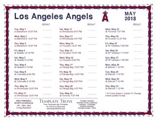 May 2018 Los Angeles Angels Printable Schedule
