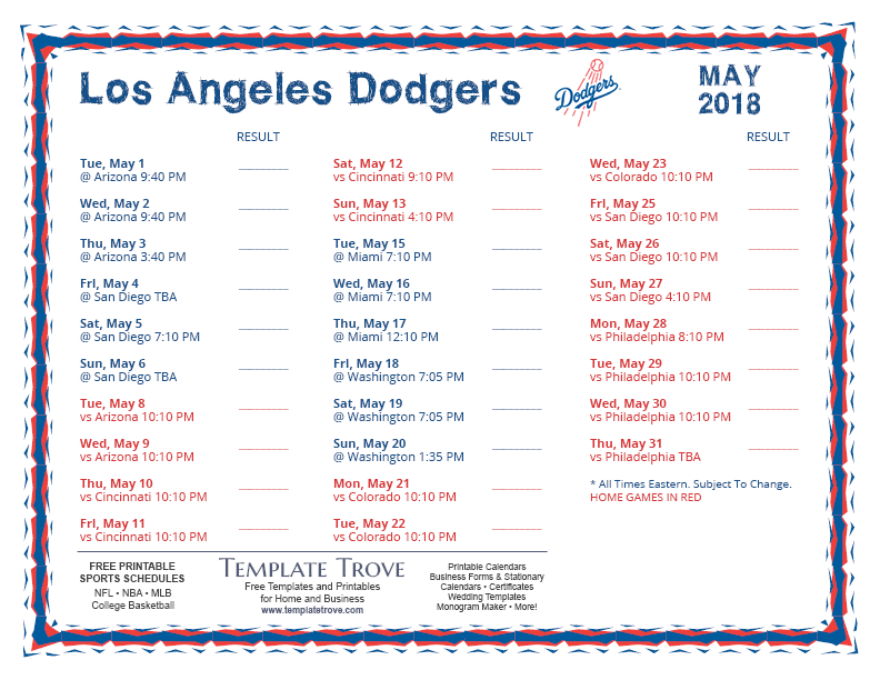 Hilaire image intended for dodgers schedule printable