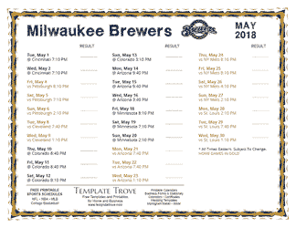 May 2018 Milwaukee Brewers Printable Schedule