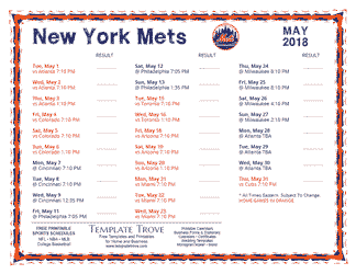 May 2018 New York Mets Printable Schedule