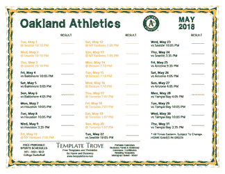 May 2018 Oakland Athletics Printable Schedule