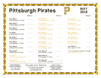 May 2018 Pittsburgh Pirates Printable Schedule