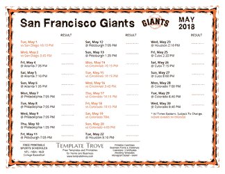 May 2018 San Francisco Giants Printable Schedule