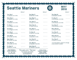 May 2018 Seattle Mariners Printable Schedule