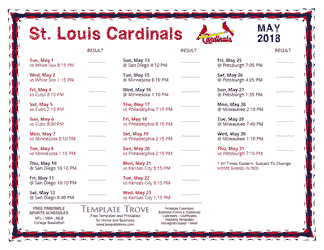 May 2018 St. Louis Cardinals Printable Schedule