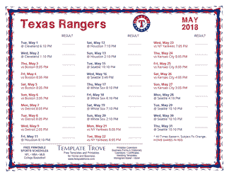 May 2018 Texas Rangers Printable Schedule