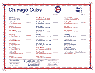 May 2019 Chicago Cubs Printable Schedule